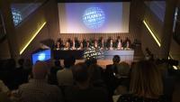 Els membres del jurat de la 68a edició del premi Planeta ahir al recinte modernista de Sant Pau