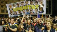 Manifestació de protesta contra la sentència del procés, dilluns a la plaça 1 d'Octubre de Girona