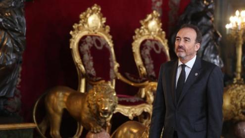<b>Manuel Marchena, </b>al Palau Reial de Madrid, en la recepció oficial del 12 d'octubre, dos dies abans de donar a conèixer la sentència