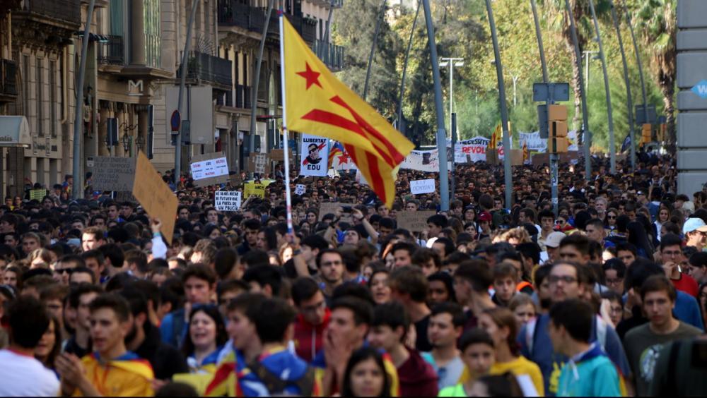 Imatge de la manifestació d'estudiants a Barcelona