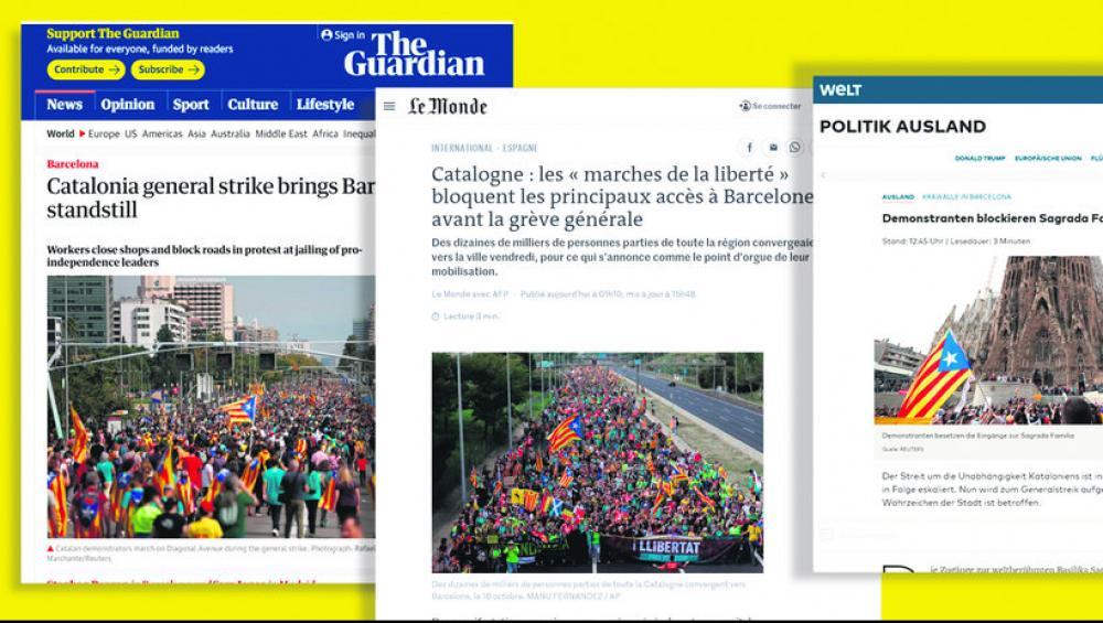 Els mitjans de comunicació de la premsa internacional es feien ressò ahir de la situació a Catalunya