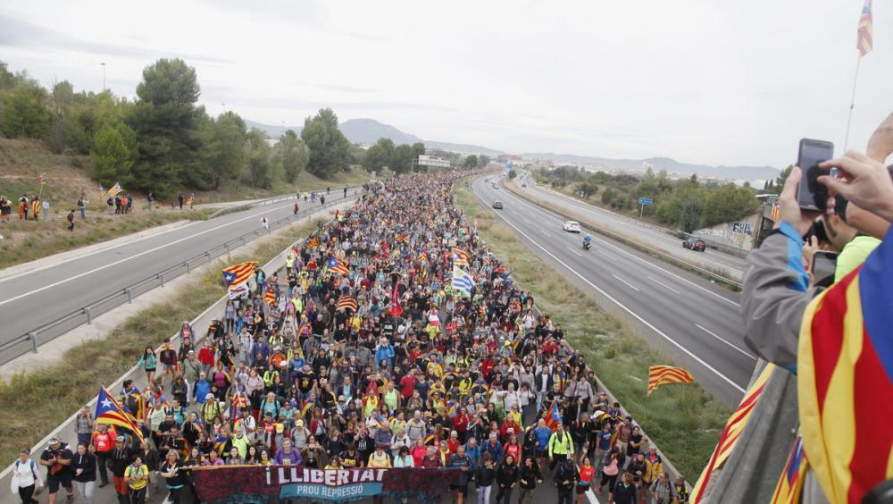Èxit de mobilització de les marxes per la llibertat, entrant a Barcelona