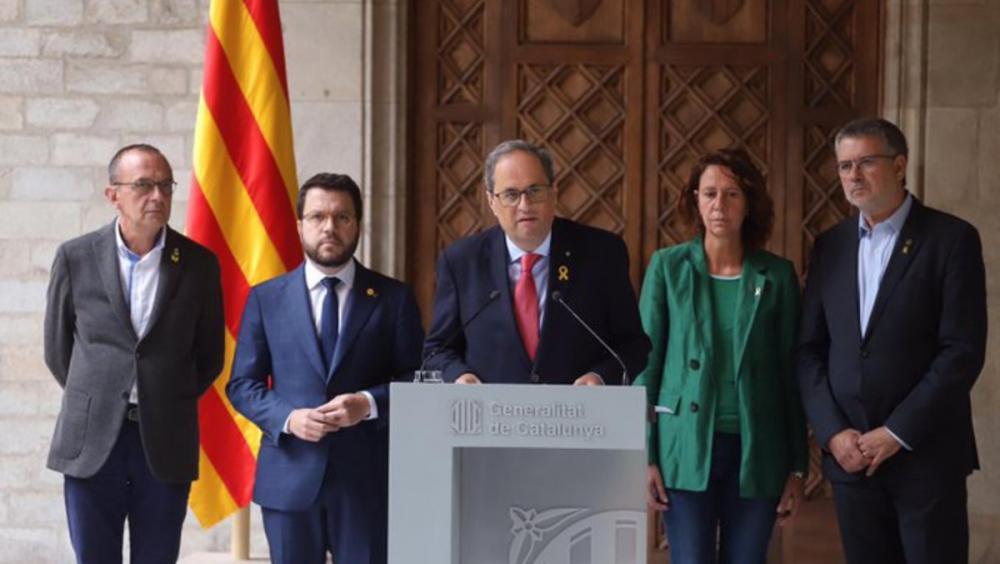 Quim Torra i Pere Aragonès amb els alcaldes de Lleida, Girona i Tarragona