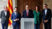 El president Torra i el vicepresident Aragonès, amb els alcaldes Miquel Pueyo, Marta Madrenas i Pau Ricomà
