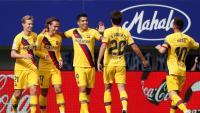 Els jugadors del Barça celebren el gol de Griezmann que ha obert el marcador