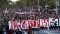 Pancarta dels CDR en la manifestació de dimarts 15 d'octubre
