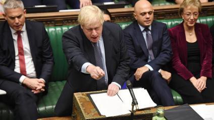 Boris Johnson durant el seu discurs ahir al Parlament britànic