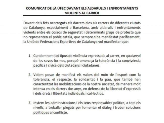 El comunicat de la UFEC