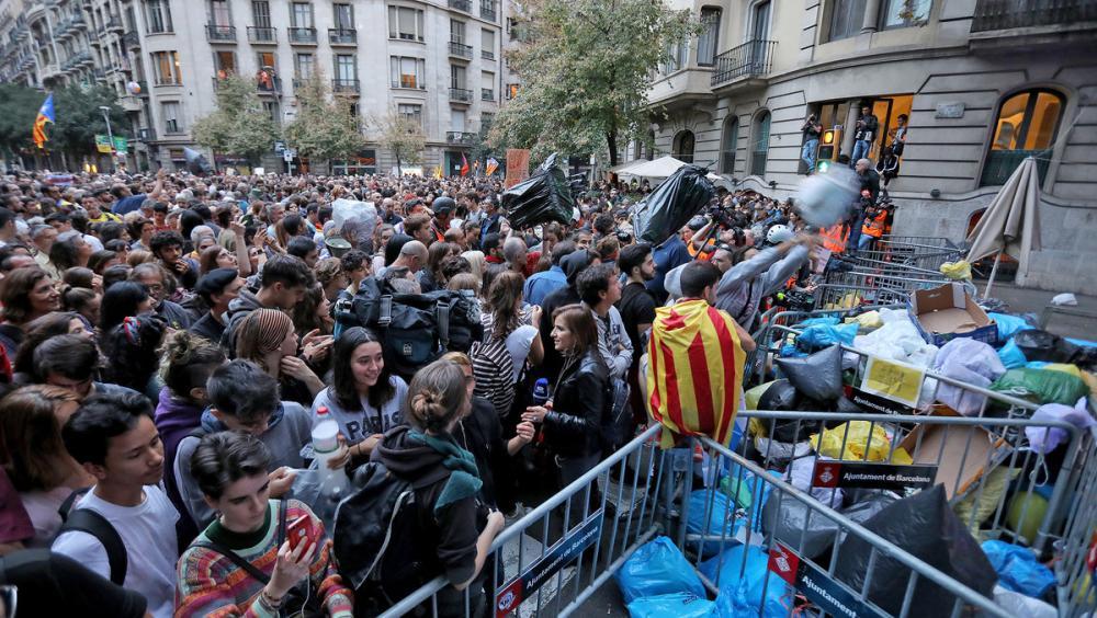 Participants en el pícnic per la República a Barcelona, ahir.