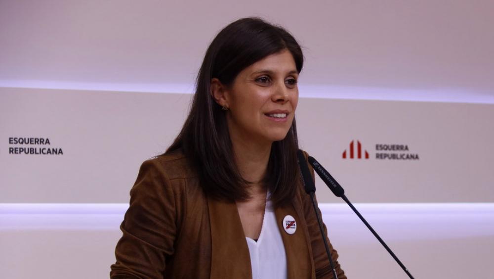 La portaveu d'ERC, Marta Vilalta, a la seu del partit