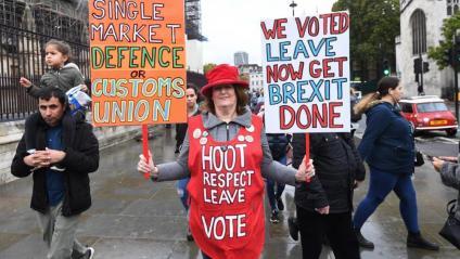 Una partidària del 'Brexit', protestant ahir davant del parlament britànic