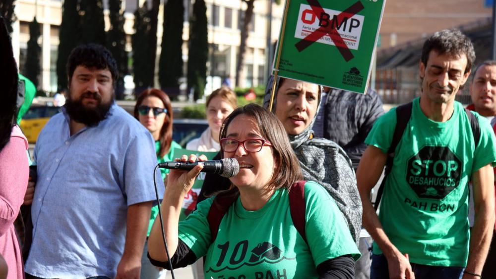 Membres de la PAH  de tot Catalunya, en la darrera manifestació de fa uns dies, a la fira del Meeting Point, on una trentena van ser identificats per la policia