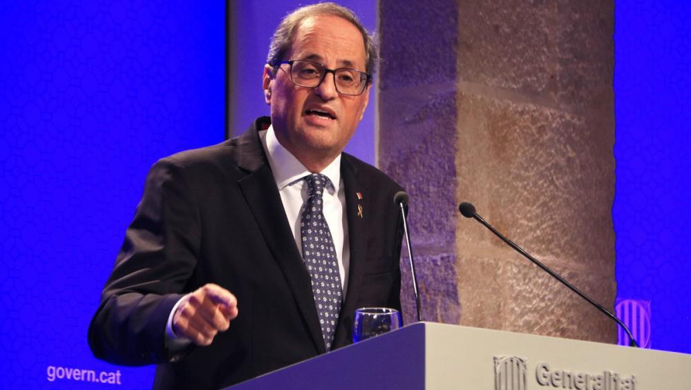 El president del Govern, Quim Torra, a la roda de premsa