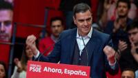 El líder del PSOE, Pedro Sánchez, en un míting ahir dilluns