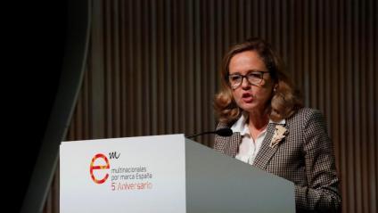 Nadia Calviño, ministra d'Economia i Empresa en funcions, durant un acte ahir a Madrid