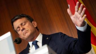 Manuel Valls en una roda de premsa a l'ajuntament de Barcelona