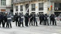 La policia a la Via Laietana el 18 d'octubre de 2019, quan van detenir el Guillem