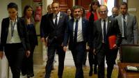 Josep Rull, Jordi Sànchez i Jordi Turull pels passadissos del Congrés