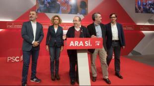 Els dirigents del PSC compareixien al costat de Miquel Iceta per valorar els resultats durant la nit electoral