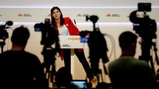 Marta Vilalta, durant la concorreguda roda de premsa d'ahir a la seu d'ERC