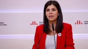 La portaveu d'ERC, Marta Vilalta, ahir en roda de premsa