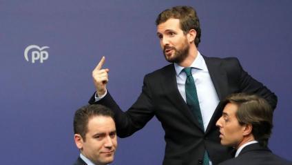 Pablo Casado, amb Teodoro García Egea i Pablo Montesinos