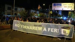 Capçalera de la manifestació de Lleida d'aquest dimarts