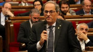 El president de la Generalitat, Quim Torra, intervé a la sessió de control al Parlament