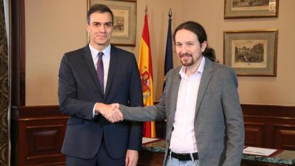 El president en funcions, Pedro Sánchez i el líder de Podem, Pablo Iglesias