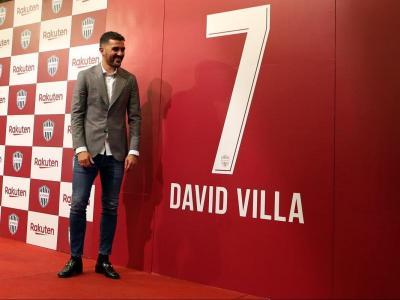David Villa, ahir, durant la roda de premsa en què va anunciar las seva retirada