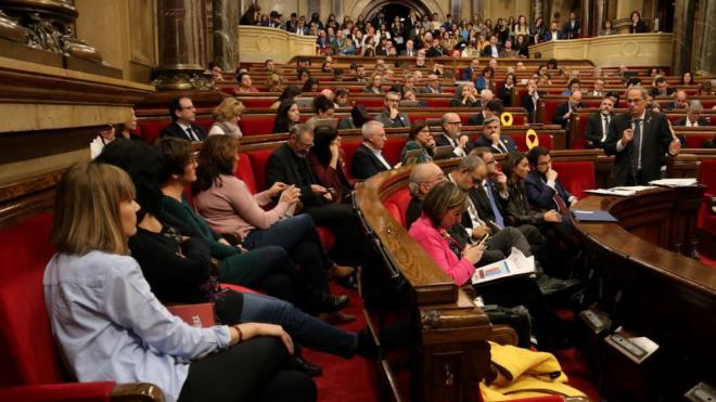 Torra adreçant-se als diputats de Catalunya en Comú