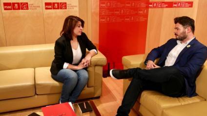Adriana Lastra i Gabriel Rufián, en una reunió mantinguda el 13 de juny passat