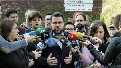 Pere Aragonès, en una atenció als mitjans de comunicació el 23 de novembre
