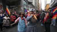 Simpatitzants de Morales en una manifestació, dijous a La Paz