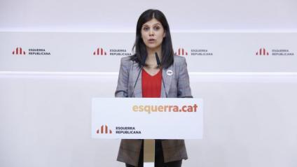 La portaveu d'ERC, Marta Vilalta, a la roda de premsa a la seu del partit