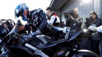 Àlex Márquez ahir durant el seu primer test de Moto GP
