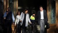 Salvadó, amb les seves advocades, després de declarar com investigat per l'1-O, ahir