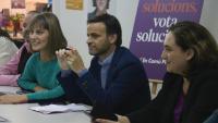 Jéssica Albiach, Jaume Asens i Ada Colau, durant el seguiment electoral