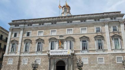 Imatge d'arxiu de la pancarta dels presos al Palau de la Generalitat