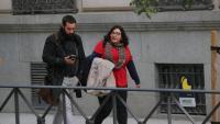 Eva Pous i David Aranda , advocats d'Alerta Solidària, arribant ahir al matí a l'Audiencia Nacional