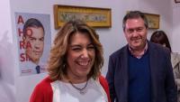 L'expresidenta andalusa, Susana Díaz, amb l'alcalde de Sevilla, celebrant la victòria de Sánchez el 10 de novembre