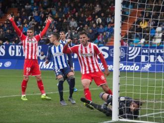 Alcalá celebra el gol de Ramalho al Toralín, que va ser anul·lat per fora de joc