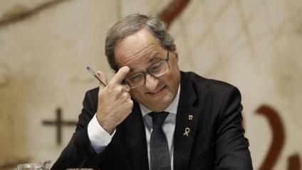 El president de la Generalitat Quim Torra durant la reunió setmanal de l'executiu