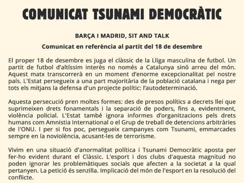 El comunicat de Tsunami Democràtic