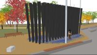 """Imatge virtual del monument """"Bosc d'empremtes"""" que s'aixecarà al futur parc Campus Diagonal-Besòs"""