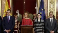 Sánchez i Batet, amb la presidenta del Senat, Pilar Llop, ahir al Congrés en l'acte de celebració dels 41 anys de la Constitució