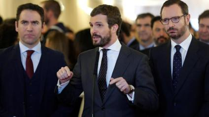 Els diputats del PP Pablo Casado, Javier Maroto i Teodoro García Egea