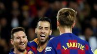 Leo Messi celebra un dels tres gols que ha marcat contra el Mallorca