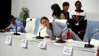 Greta Thunberg en l'acte de la cimera del canvi climàtic COP25 a Madrid