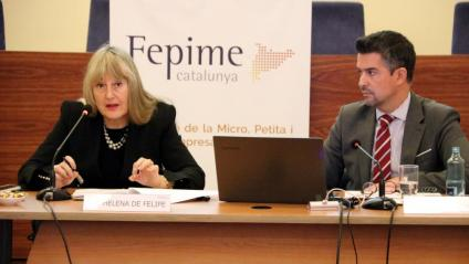 La presidenta de Fepime, Maria Helena de Felipe, a la presentació de l'informe